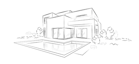 Lineaire architecturale schets moderne vrijstaande woning