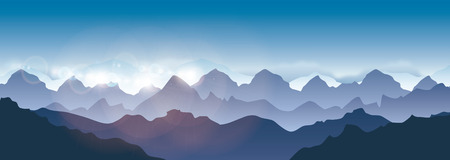 山の風景 - ベクトル図パノラマ
