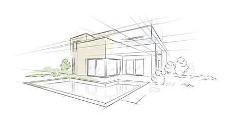 Lineair architecturaal schetsvrijstaand huis Stock Illustratie