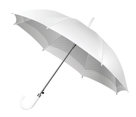 Realistic open white umbrella - vector Illustration