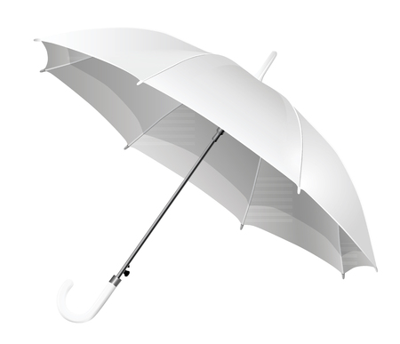 Realistic open white umbrella - vector Illustration