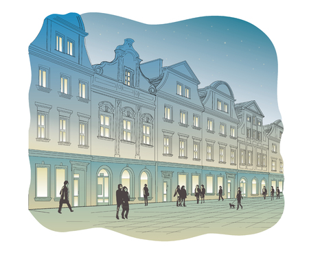 Vector illustration of an old town square at night
