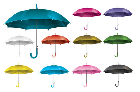 Realistic set open umbrella - vector Illustration