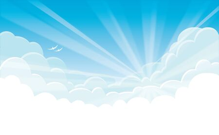 Vector background - blue sky with white clouds and sunrise
