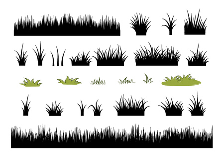 Grass silhouettes set - vector illustration