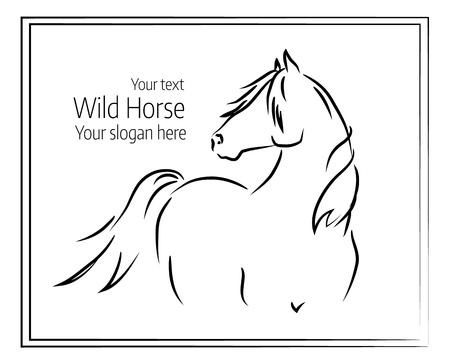 Hand getekende vectorillustratie van een wild paard Stock Illustratie