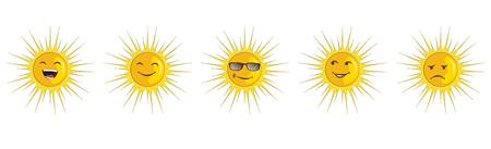 Vector icon set - sun emotions: enjoy, sad, happy, happy, dodger