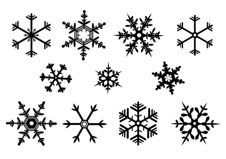 Snowflake set vector icon illustration.