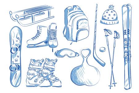 Skates, ski, sleds, snowboard. Hand drawn vector illustration.