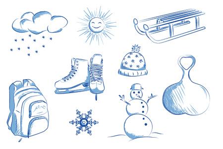 Skates, sleds, snowman, snowflakes. Hand drawn vector illustration.