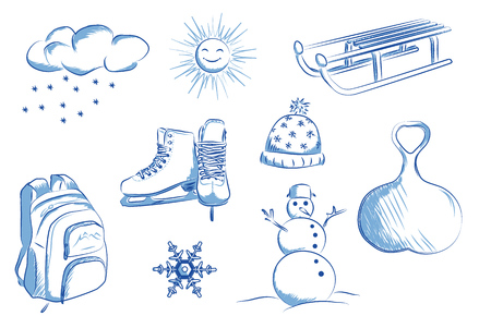 Skates, sleds, snowman, snowflakes. Hand drawn vector illustration.