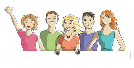 Happy group of people on a white background. The concept - vector doodle hand drawn