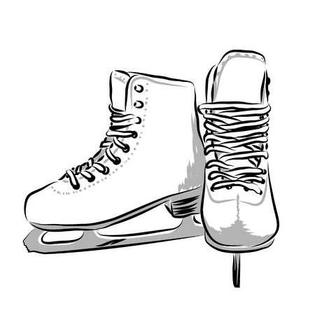Vector hand drawn icon winter objects: skates Vectores