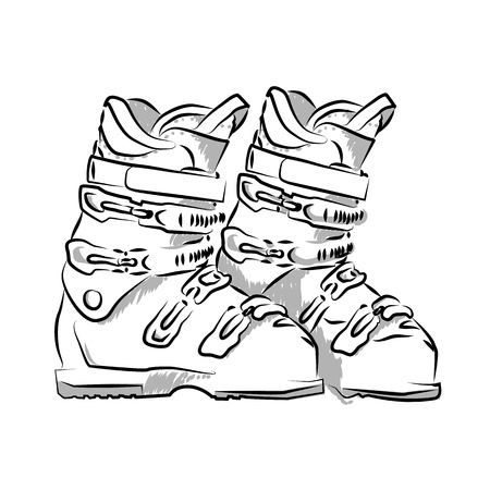 Vector hand drawn icon winter objects: ski-boots