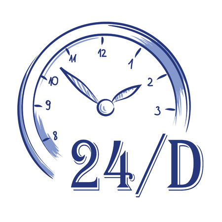 Vector hand drawn icon clock 24 h