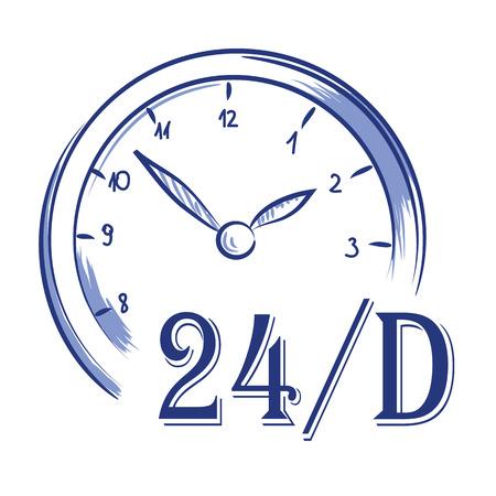 Vector hand drawn icon clock 24 h