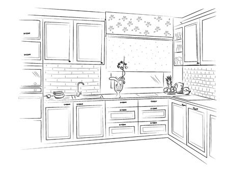 Hand drawn kitchen interior sketch design. Vector illustration