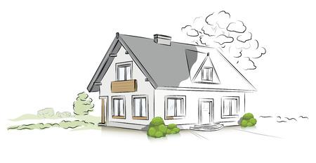 Hand drawn architectural sketch detached house 矢量图像