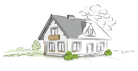 Hand drawn architectural sketch detached house Illustration