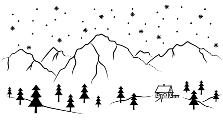snowy mountain and house - black and white vector illustration