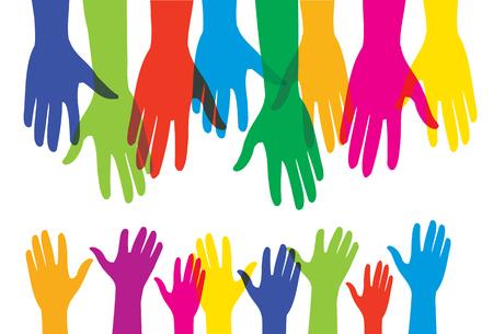 Helpende menselijke volwassen handen en kleine kinderhanden - vectorillustratie