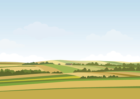 Green hill landscape. Vector illustration of panorama field landscape and cloud sky