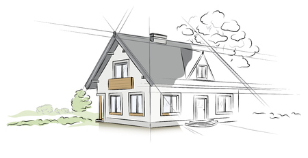 Architectural project detached house Illustration