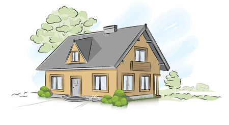 Vector architectural hand drawing traditional house