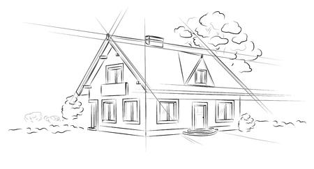 Lineair architecturaal project vrijstaand huis. Stock Illustratie