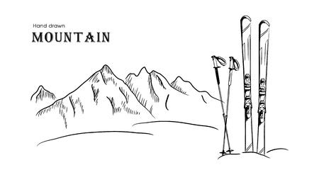 Hand getrokken berg en ski grafische zwart witte landschap vectorillustratie. Stock Illustratie