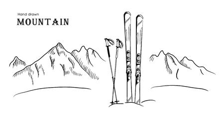 Hand drawn Mountain and ski graphic black white landscape vector illustration.