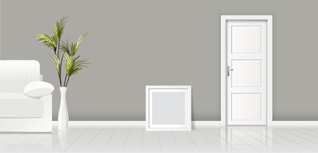 Element of architecture - vector background gray wall width closed white door and frame for picture