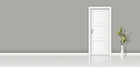 Element of architecture - vector background gray wall and closed white door.
