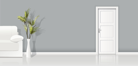 Element of architecture - vector background gray wall, sofa and closed white door