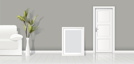 Element of architecture - vector background gray wall width closed white door and frame for picture.