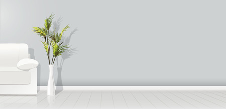 Element of architecture - vector background gray empty wall width white sofa and plant - vector illustration