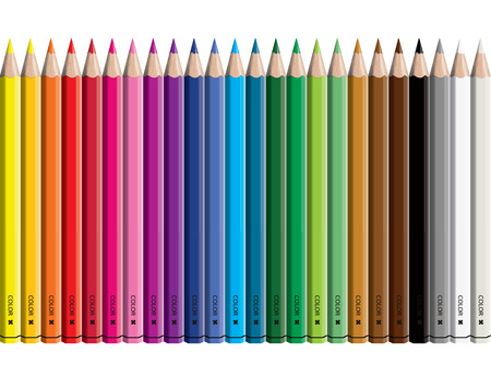 Set of colored pencil collection - Craynos on white background.