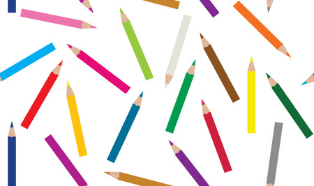 Set of colored pencils collection of random craynos on white background.