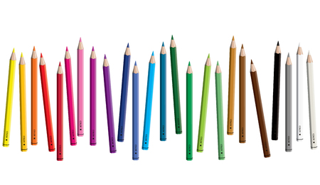Set of colored pencil collection scattered - seamless in both directions - isolated vector illustration craynos on white background.