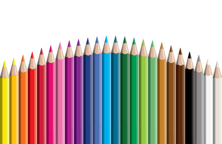 Set of colored pencil collection - vector illustration of craynos on white background.