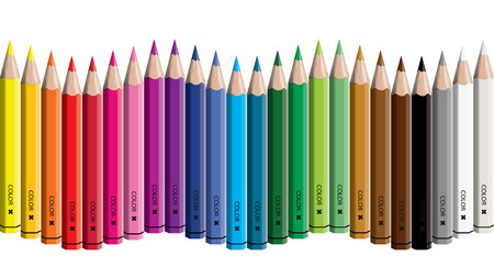 Set of colored pencil collection wave arranged - vector illustration craynos on white background.