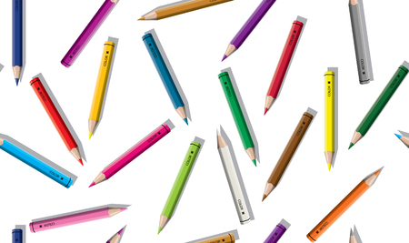 Set of colored pencil collection scattered arranged - seamless isolated vector illustration craynos on white background.