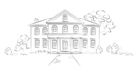 Linear architectural sketch modern detached house. Project of big residence or hotel on white background. Illustration