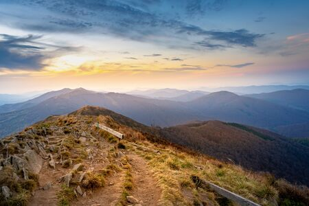 sunset in the mountains. Bieszczady National Park - Poland. Banque d'images