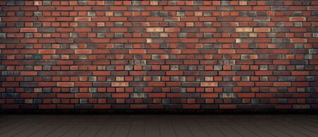 red brick wall background. wooden light floor