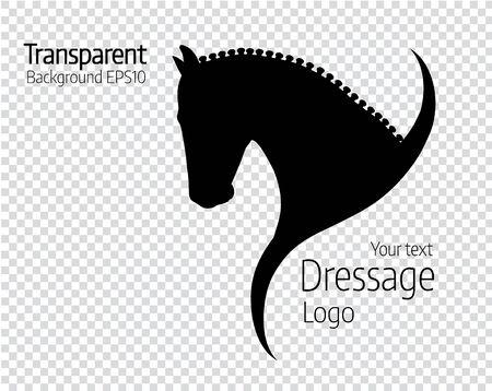 Transparent hand drawn black vector horse logo silhouette.