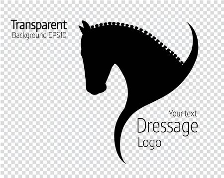 Transparent hand drawn black vector horse logo silhouette.