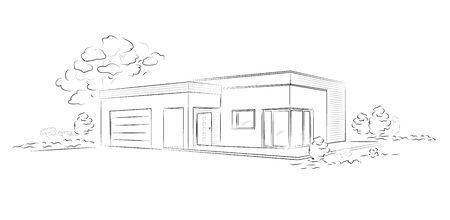 Vector linear architectural sketch modern detached house.