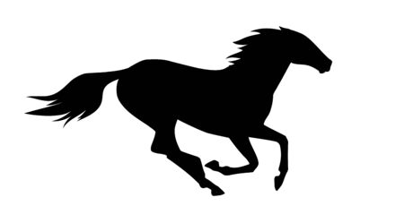 vector illustration of running horse.
