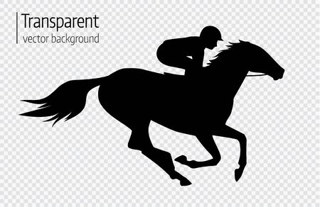 Vector illustration of race horse with jockey. Black isolated silhouette on transparent background. Equestrian competition logo.